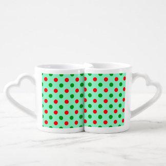 Lunares rojos y verdes taza para enamorados