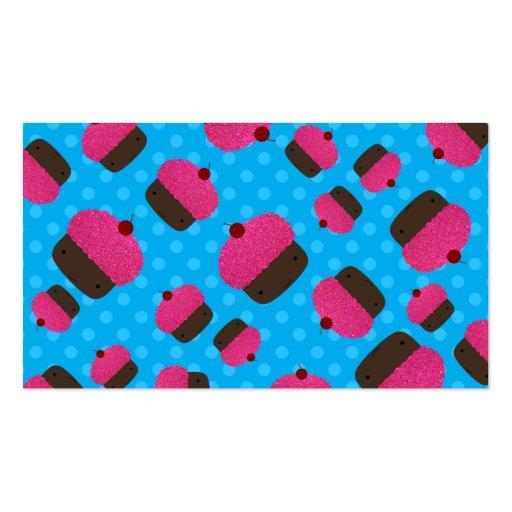 Lunares rosados del azul de las magdalenas tarjetas de visita