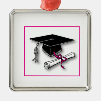 Lunares rosados gorra, diploma de la graduación ornato
