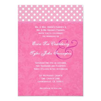 Lunares rosados y boda del borde de la cinta invitación 12,7 x 17,8 cm