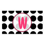 Lunares/tarjeta de visita rosada de moda del monog