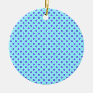 Lunares - violeta en azul eléctrico adorno redondo de cerámica