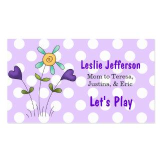 Lunares y tarjeta de fecha del juego de la mamá de plantilla de tarjeta de visita