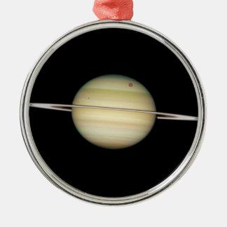 Lunas cuádruples de Saturn en tránsito Adorno Redondo Plateado