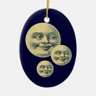 Lunas del vintage adorno ovalado de cerámica