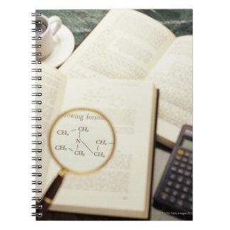 Lupa que agranda el diagrama molecular cuaderno