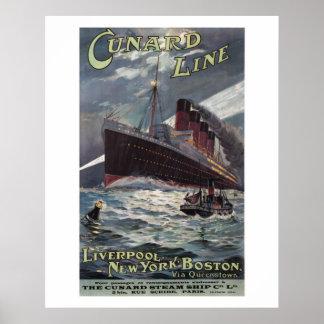 Lusitania - línea poster de Vinatge Cunard del Póster