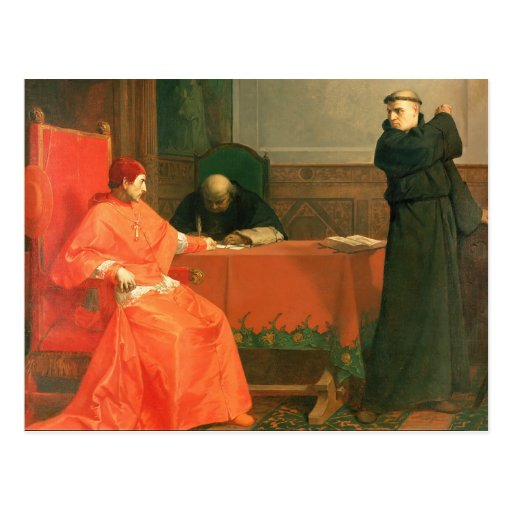 Luther delante de Cajetan cardinal Tarjeta Postal
