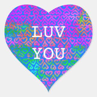 Luv usted modelo de los corazones pegatina en forma de corazón