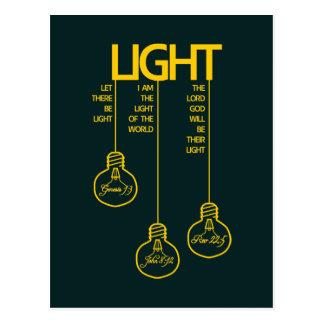 Luz bíblica de los bulbos del vintage postal