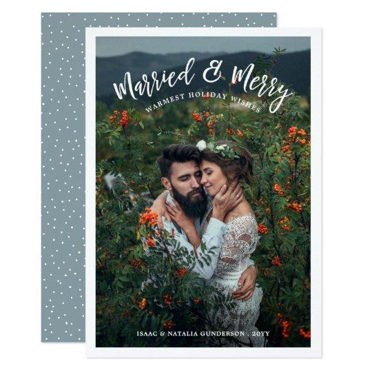 Luz casada y feliz de la tarjeta el | del día de invitación 12,7 x 17,8 cm