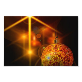 Luz de la chuchería del navidad del oro de la deco impresion fotografica