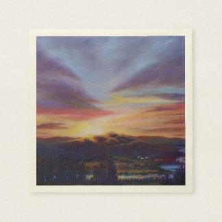 Luz de la mañana en la pintura de la salida del servilleta de papel