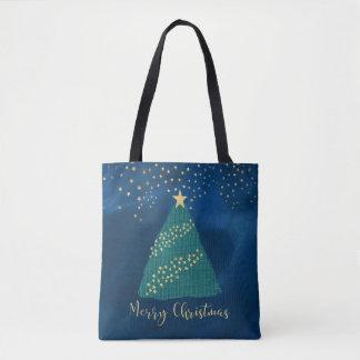 Luz de oro del navidad bolso de tela