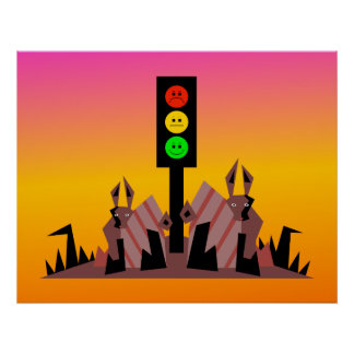 Luz de parada cambiante con los conejitos, fondo póster