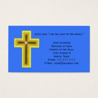 Luz del cristiano de la cruz del mundo tarjeta de negocios