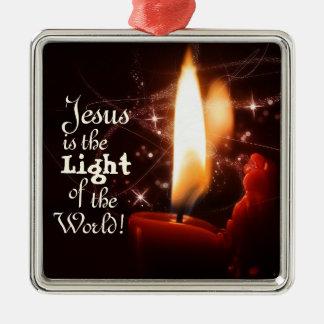 Luz del mundo, vela de Jesús del navidad Adorno De Cerámica