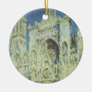 Luz del sol del oeste de la fachada de la catedral adorno navideño redondo de cerámica