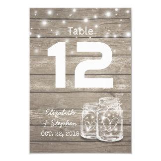 Luz del tarro de albañil del número de la tabla invitación 8,9 x 12,7 cm