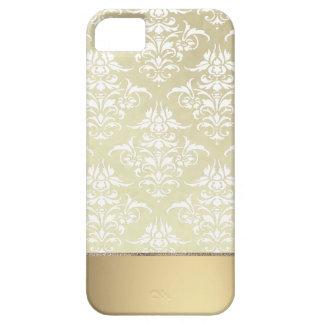 Luz elegante Oro-como modelo del damasco del vinta iPhone 5 Cárcasas