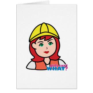 Luz/rojo de la cabeza del trabajador de construcci tarjeta de felicitación
