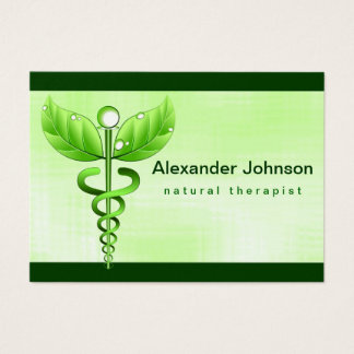 Luz verde de la medicina alternativa del caduceo tarjeta de visita