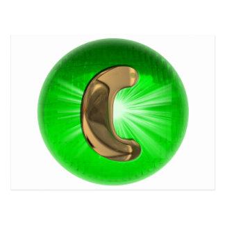 Luz verde del monograma C del oro del TAXI Postal