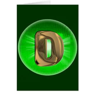 Luz verde del monograma D del oro del TAXI Tarjeta De Felicitación