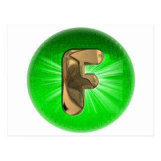Luz verde del monograma F del oro del TAXI Postal