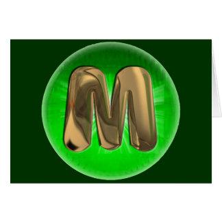 Luz verde del monograma M del oro del TAXI Tarjeta De Felicitación