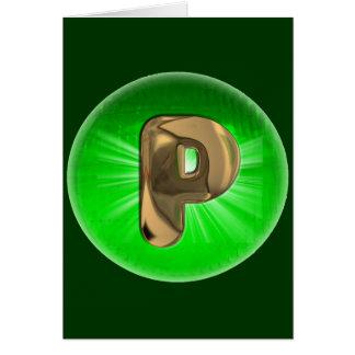 Luz verde del monograma P del oro del TAXI Tarjeta De Felicitación