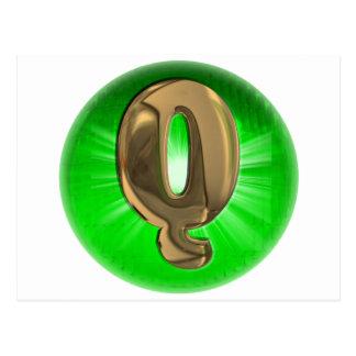 Luz verde del monograma Q del oro del TAXI Postal