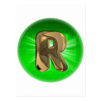 Luz verde del monograma R del oro del TAXI Postal