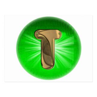 Luz verde del monograma T del oro del TAXI Postal