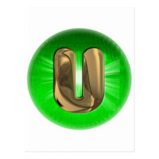 Luz verde del monograma U del oro del TAXI Postal