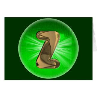 Luz verde del monograma Z del oro del TAXI Tarjeta De Felicitación