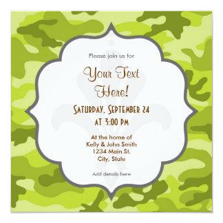 Luz, verde lima Camo, camuflaje Invitación 13,3 Cm X 13,3cm