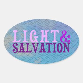 LUZ Y SALVACIÓN cristianas Pegatina Ovalada