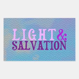 LUZ Y SALVACIÓN cristianas Pegatina Rectangular