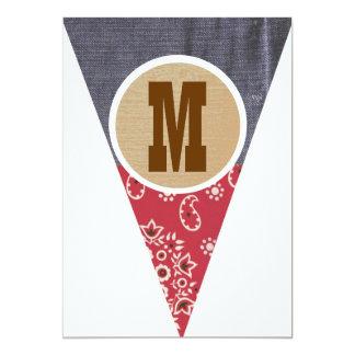 M de la letra del banderín del vaquero invitación 12,7 x 17,8 cm