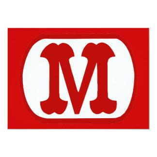 M en el icono oval (Mario) Invitación 12,7 X 17,8 Cm