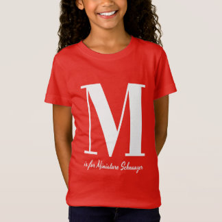 M está para la camiseta del Schnauzer miniatura