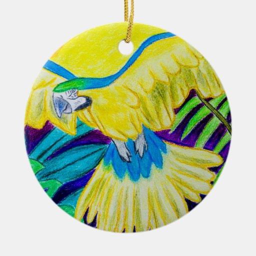 Macaw azul y amarillo, lápiz coloreado tropical ornamento de reyes magos