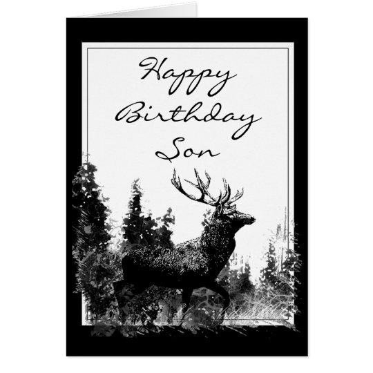 Macho del vintage del hijo del feliz cumpleaños, tarjeta de felicitación