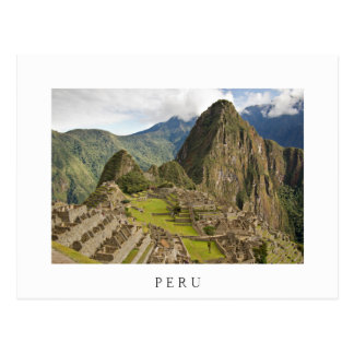 Machu Picchu, ciudad del inca en postal del blanco