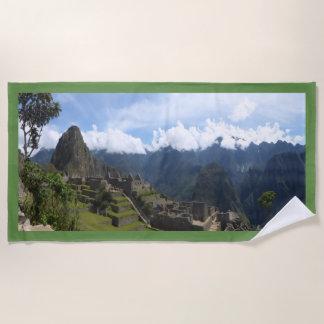 Machu Picchu Perú, toalla de playa verde de la