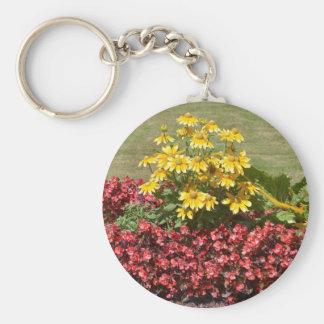 Macizo de flores de coneflowers y de begonias llavero
