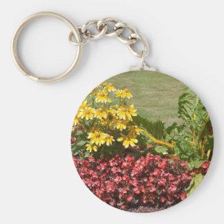 Macizo de flores de coneflowers y de begonias llavero redondo tipo chapa