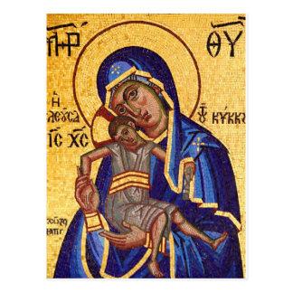 maddona y niño del mosaico postal