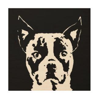 """Madera 12"""" de la plantilla de Boston Terrier"""" arte"""